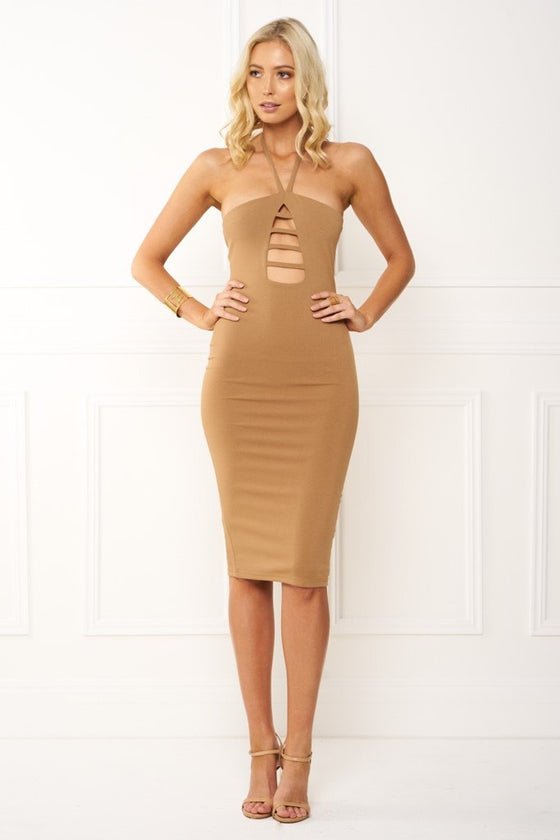 Honey Couture IVY Brown Halter Tie Midi DressHoney CoutureOne Honey Boutique AfterPay OxiPay ZipPay