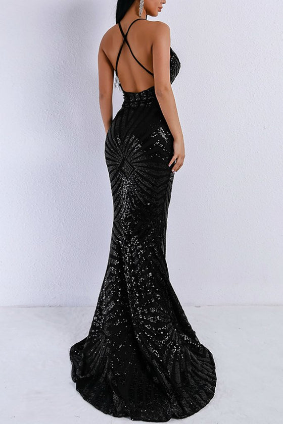 Honey Couture LILLEY Black Sequin Low Back Mermaid Evening Gown DressHoney CoutureOne Honey Boutique AfterPay OxiPay ZipPay