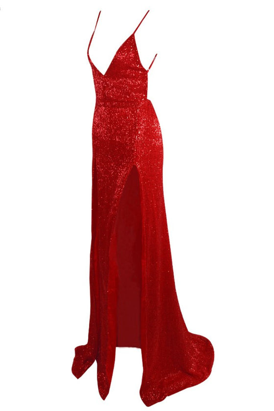 Honey Couture TANYA Red Sequin Split Formal Gown DressHoney CoutureOne Honey Boutique AfterPay OxiPay ZipPay