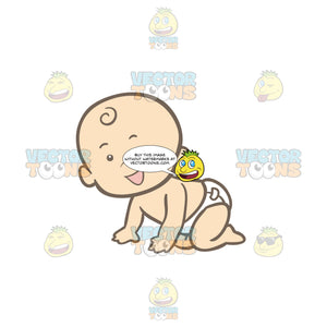 Crawling Baby Wearing A Diaper