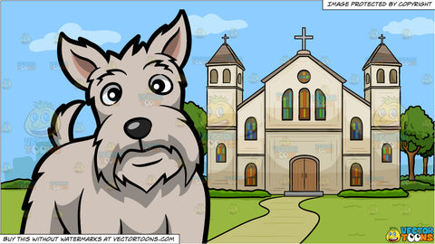 A Charming White Scottish Terrier and A Church Outside The City Background