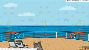 A chubby cat lying down and Deck Of A Cruise Ship With Deck Chairs Background