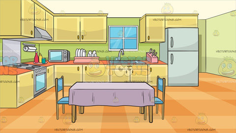 A Family Kitchen With A Dining Table And Two Chairs Background