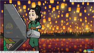 A Female Sanitation Worker Throwing The Contents Of A Can Into The Truck and Flying Paper Lanterns At Diwali Festival Background