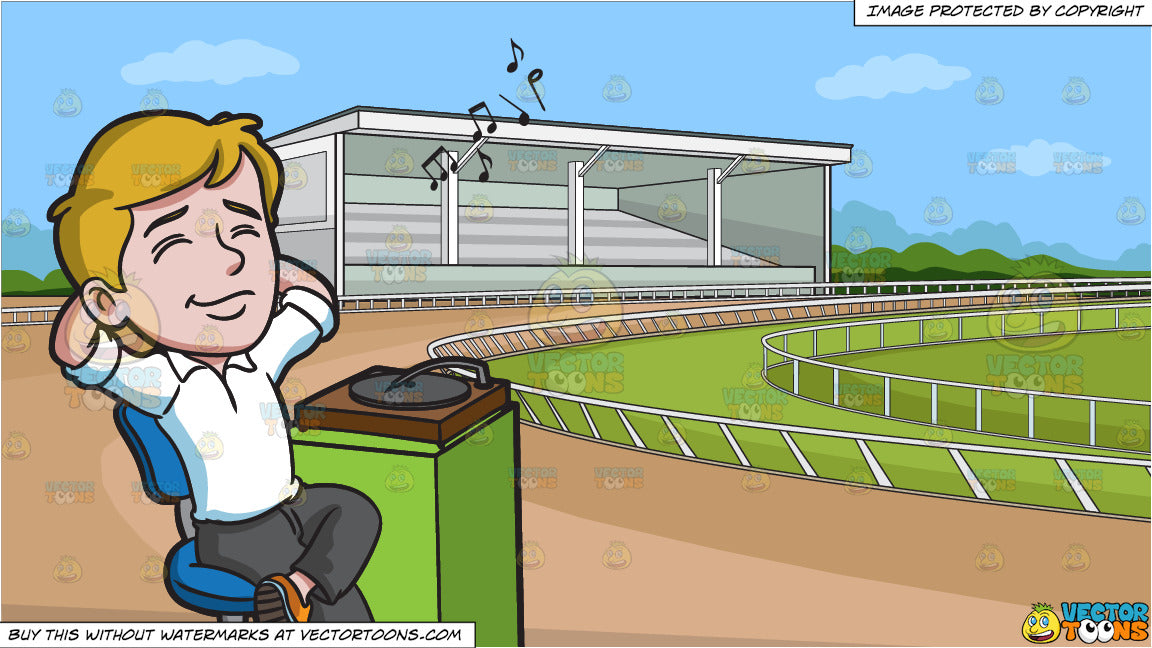 A Man Relaxing To The Vintage Sound Of A Vinyl Player and A Horse Racing  Track Background
