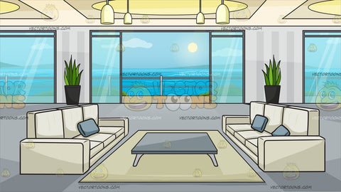 A Modern Apartment With A Balcony And Ocean View Background