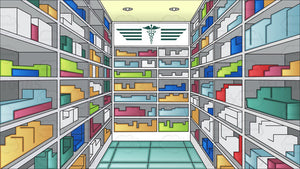 A Pharmacy Aisle With Batches Of Medicine Background