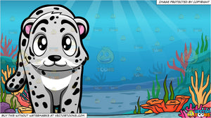 A Snow Leopard and Under The Sea Background