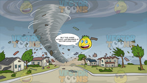 A Tornado Destroying Houses Background. A gray funnel from the dark bluish gray clouds, twisting down the road of a village, destroying houses, trees, and everything it comes at path with its violent spinning wind, as debris fly and get scattered all over the grassy areas of the place