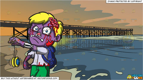 A Zombie With A Yoyo and Sunset Pier Background
