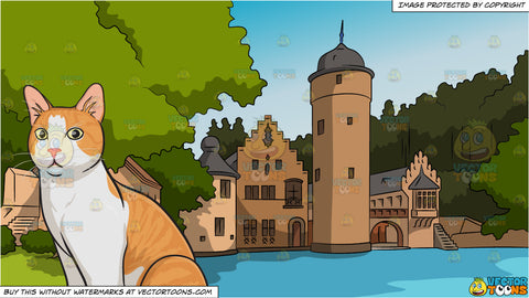 An orange and white house cat and Countryside Castle Background