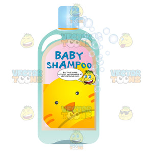 Blue Baby Shampoo Bottle With Picture Of Orange Kitty On Label And Soap Bubbles