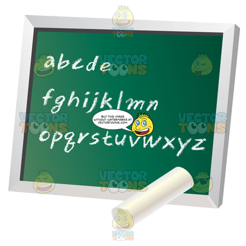 Green Old Fashioned Chalkboard With Alphabet Written On It In Check With Piece Of White Chalk