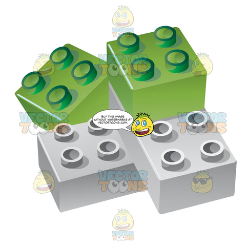 Green And Grey Plastic Interlocking Toy Bricks