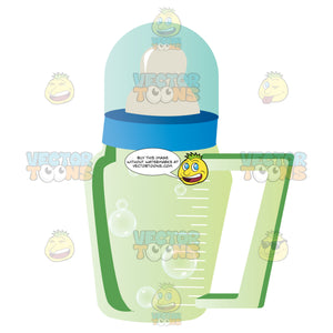 Green Glass Baby Bottle With Handle, Nipple Top And Cover