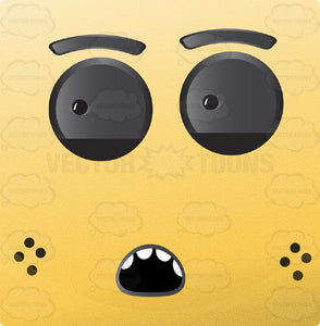 Yellow Block Square Smiley With Grey Eyes, Freckles, O-Shaped Mouth Looking Left