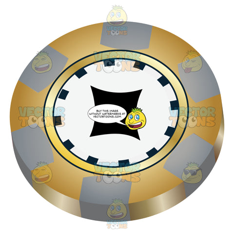 Yellow And Grey Casino Chip With Black Diamond In Center