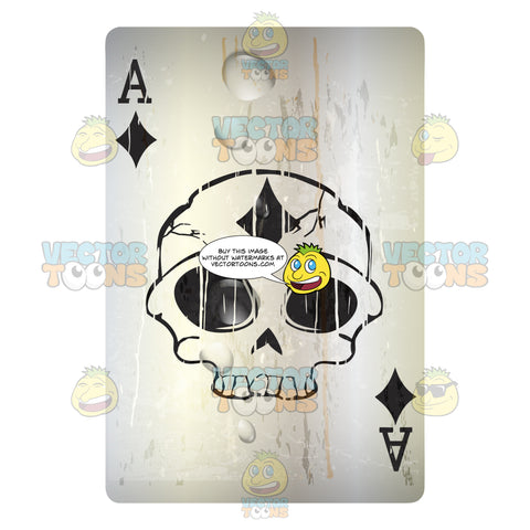 Worn Black Ace Of Diamonds Playing Card With Skull In Center