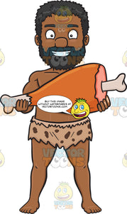 A Black Caveman Proudly Displays A Huge Bone In Ham