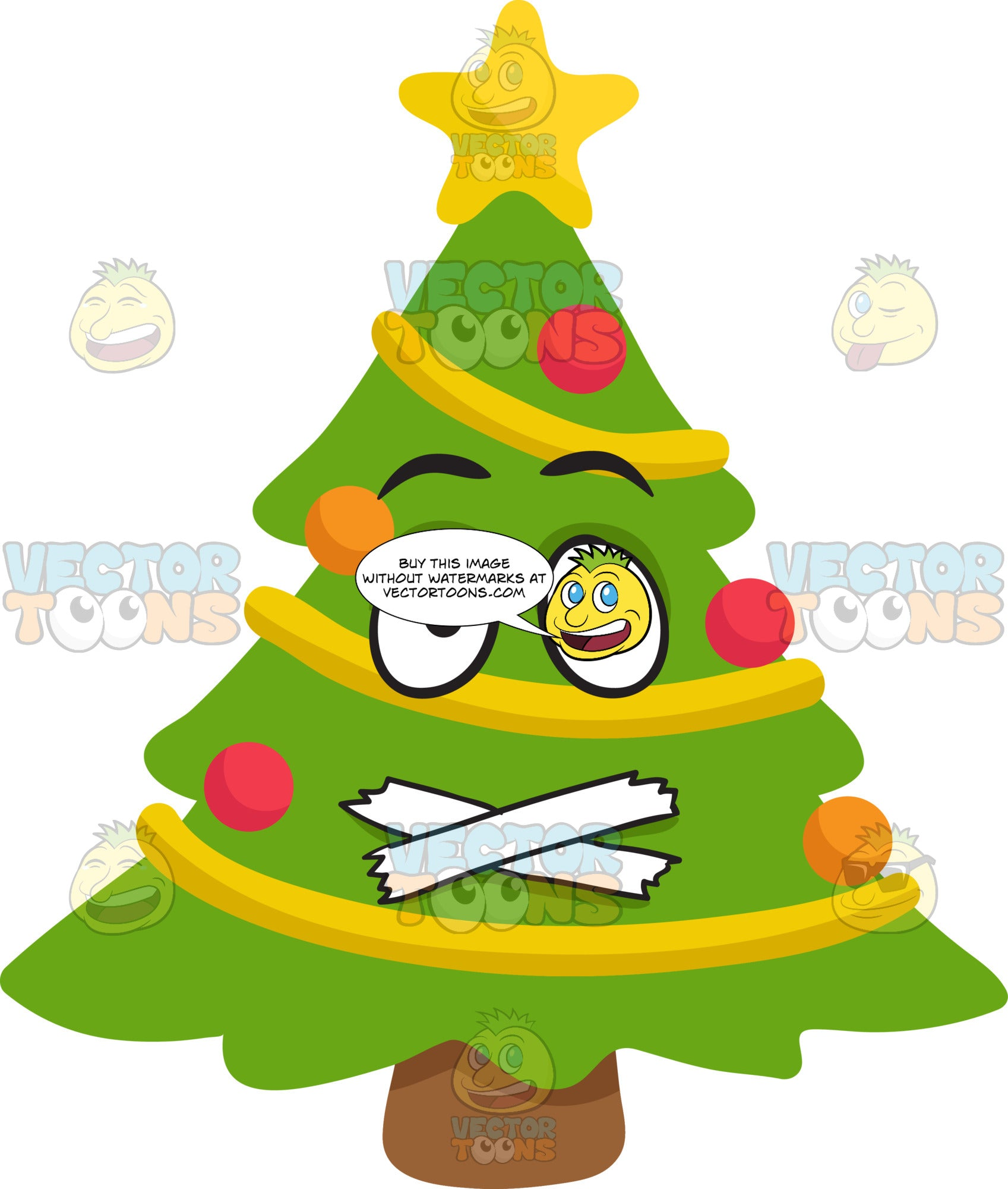 A Christmas Tree With Taped Mouth