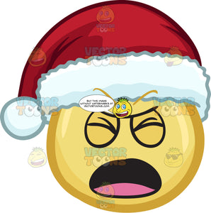 A Emoji Wearing A Santa Hat In Pain