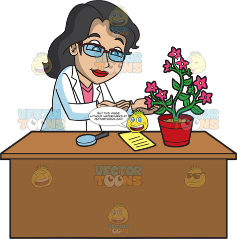 A Female Botanist Inspecting A Flowering Plant