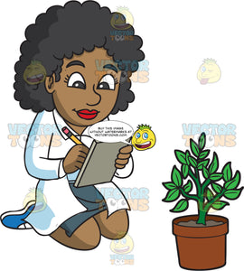 A Female Botanist Taking Notes About A Plant She Is Studying