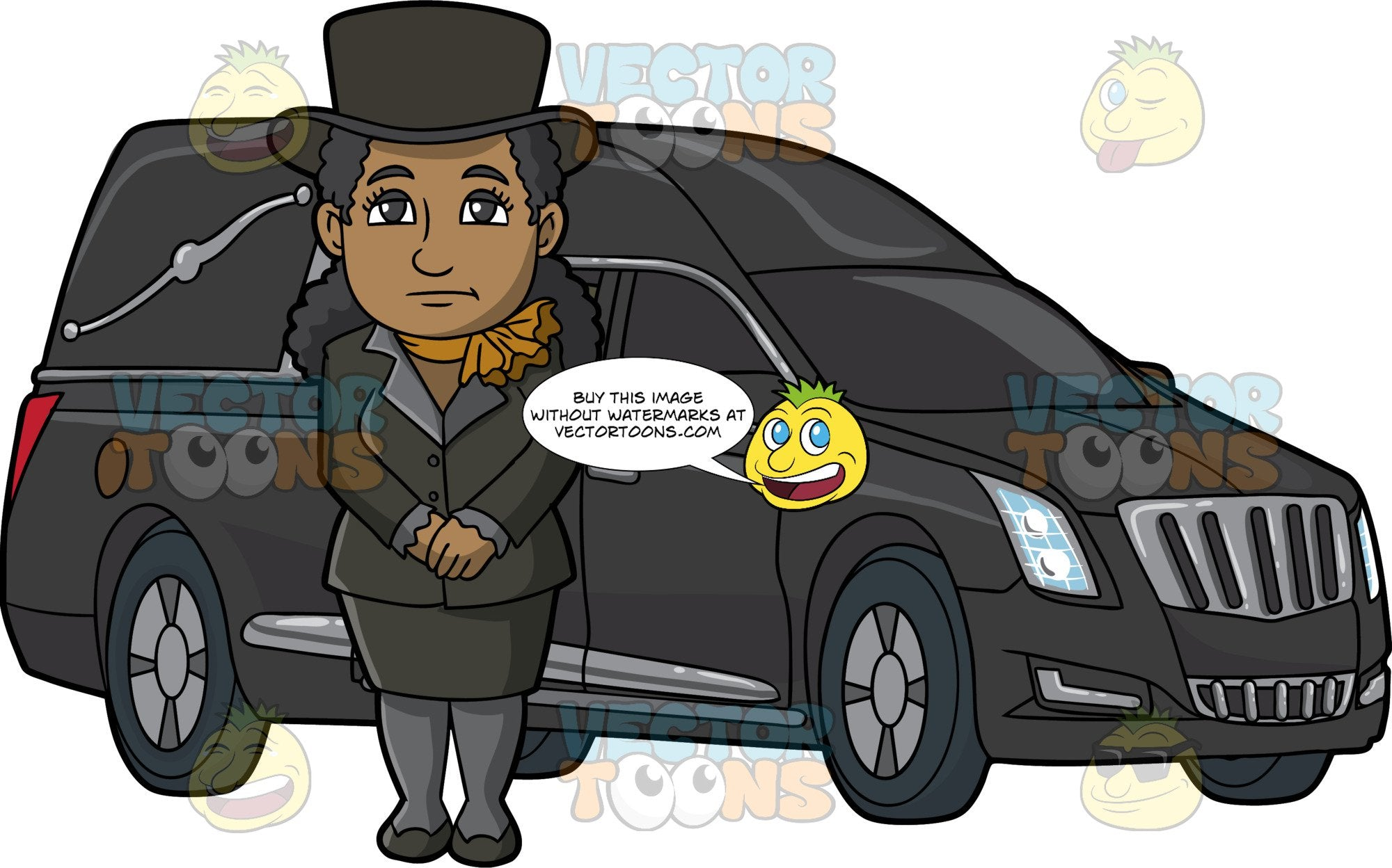 A Black Female Funeral Director Beside A Hearse. A black woman with curly hair, wearing a black top hat, dress jacket, skirt, heels, dark gray stockings, dark mustard yellow scarf around her neck, frowns while standing at the side of a black hearse