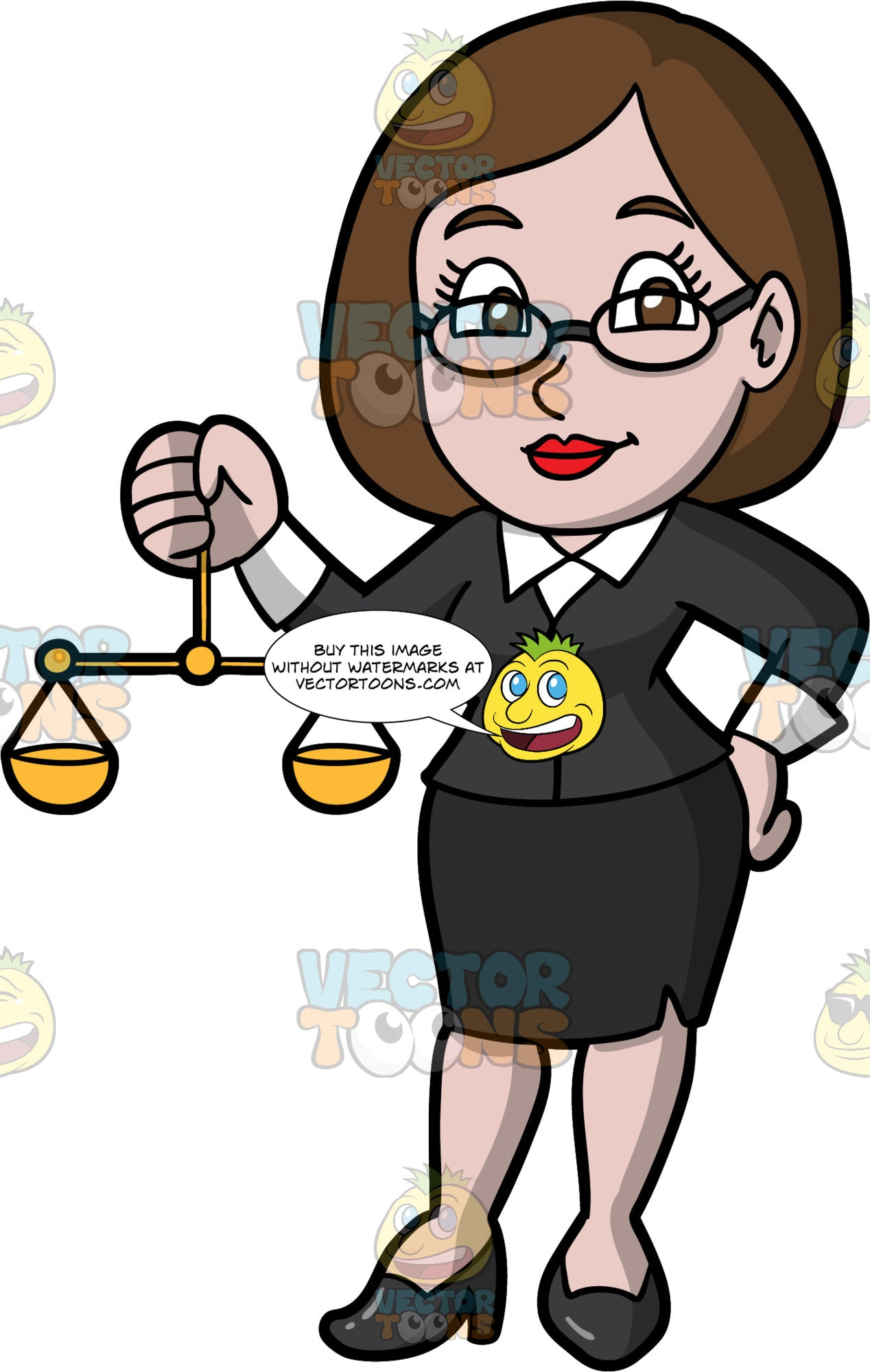 A Female Lawyer Holding Scales Of Justice. A woman with brown hair and eyes, wearing a black skirt, black blazer over a white collared shirt, black shoes, and eyeglasses, holding a set of scales of justice in one hand while she places her other hand on her hip