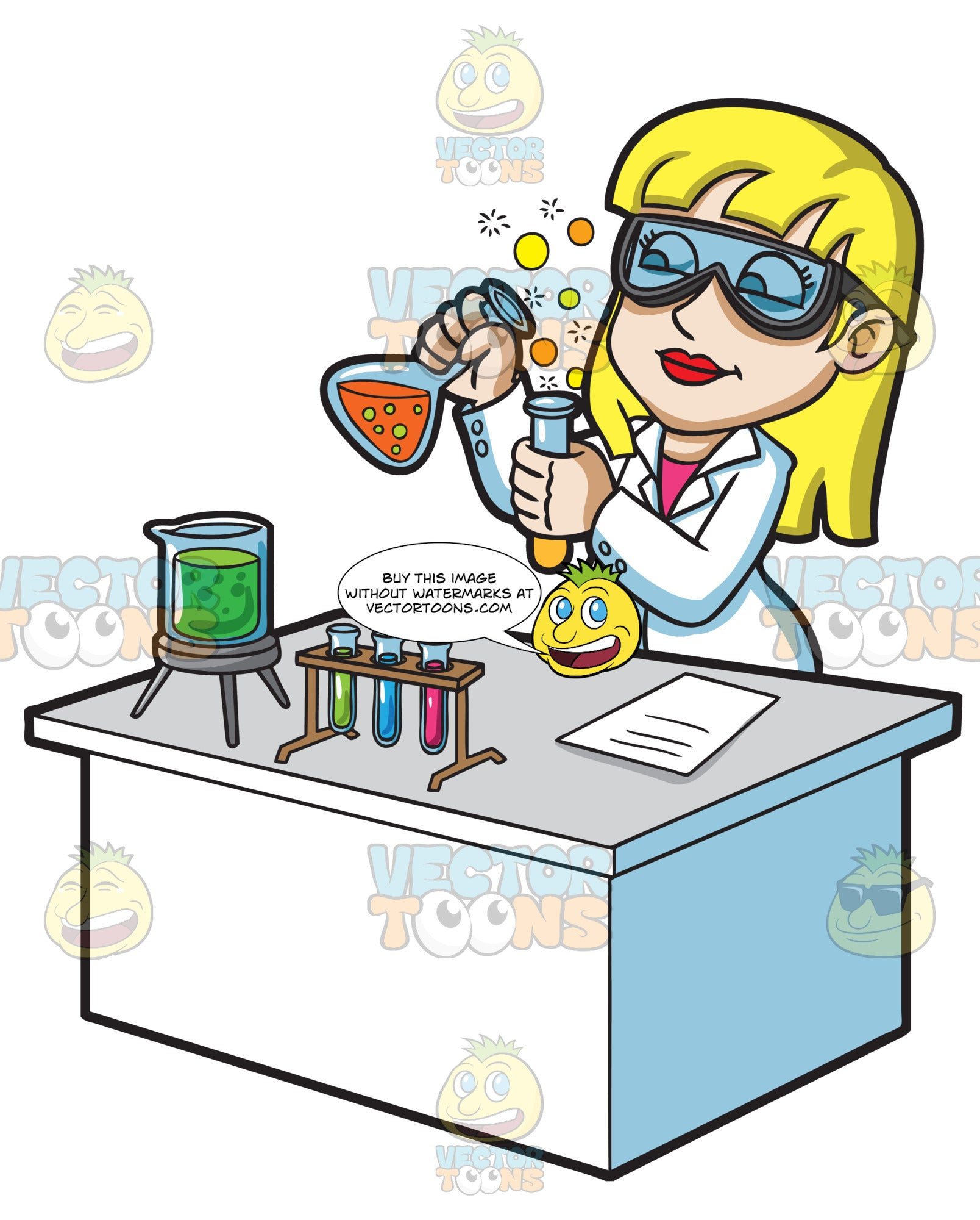 A Female Scientist Mixing Chemicals
