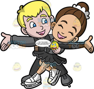 A Happy Boy And Girl Doing An Ice Dance Routine. A boy with blonde hair and blue eyes, wearing dark gray pants, a dark gray vest over a lighter gray shirt, and gray figure skates, holds onto his female partner who is wearing a matching dark gray costume and white figure skates