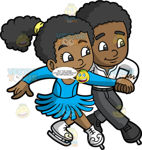 A Cute Girl And Boy Ice Dancing. A black boy wearing black pants, a white shirt, and black figure skates, holding onto the hand of his black female partner who is wearing a blue skating costume and white figure skates