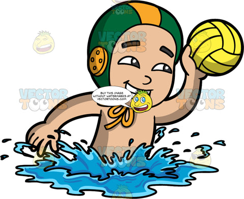 A Boy Swimming With A Water Polo Ball In His Hand. A boy wearing a green and orange water polo cap, swims through the water while holding a yellow water polo ball in one hand