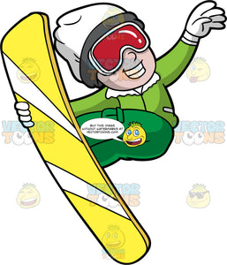 A Boy Jumping In The Air On His Snowboard. A boy wearing green snow pants, a green jacket, white gloves, a white hat, and red goggles, smiles as he jumps high into the air on his yellow snowboard