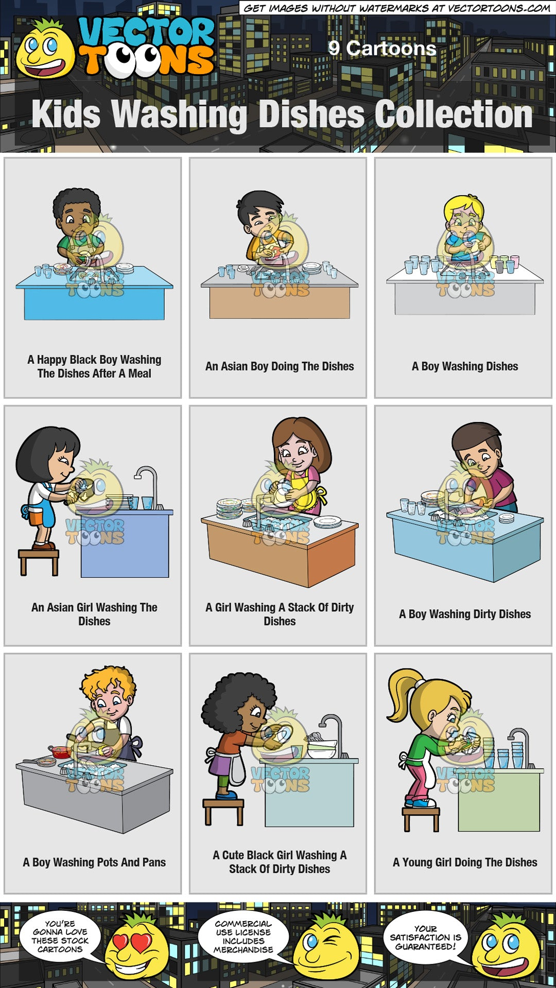 Kids Washing Dishes Collection