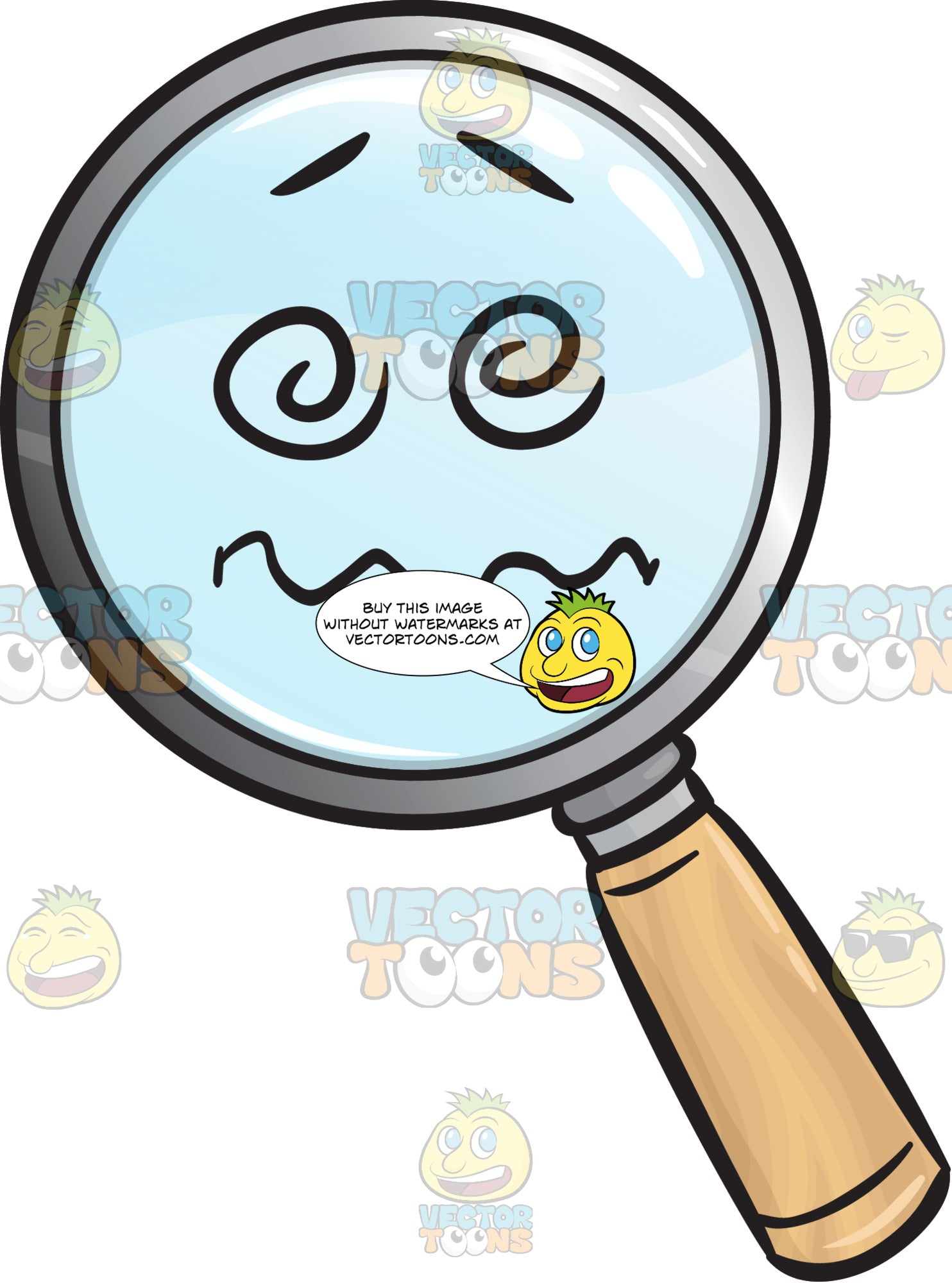 Confused And Nuts Magnifying Glass Emoji