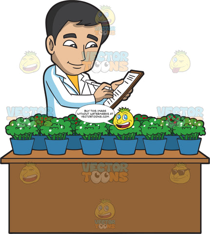 A Male Botanist Studying Small Flowering Plants