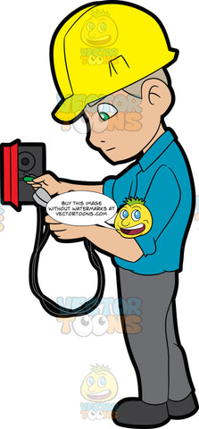 An Electrician Reading The Voltage Reader