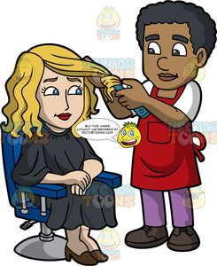 A Black Male Hairdresser Curling His Clients Hair. A black male hairdresser with curly hair, wearing a white shirt, red apron, purple pants, dark brown shoes, styles the blonde hair of a woman sitting on a blue and gray salon chair, wearing a black salon cape gown, brown heels, using a teal electric curler