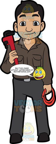 A Plumber Holding A Hose And A Wrench