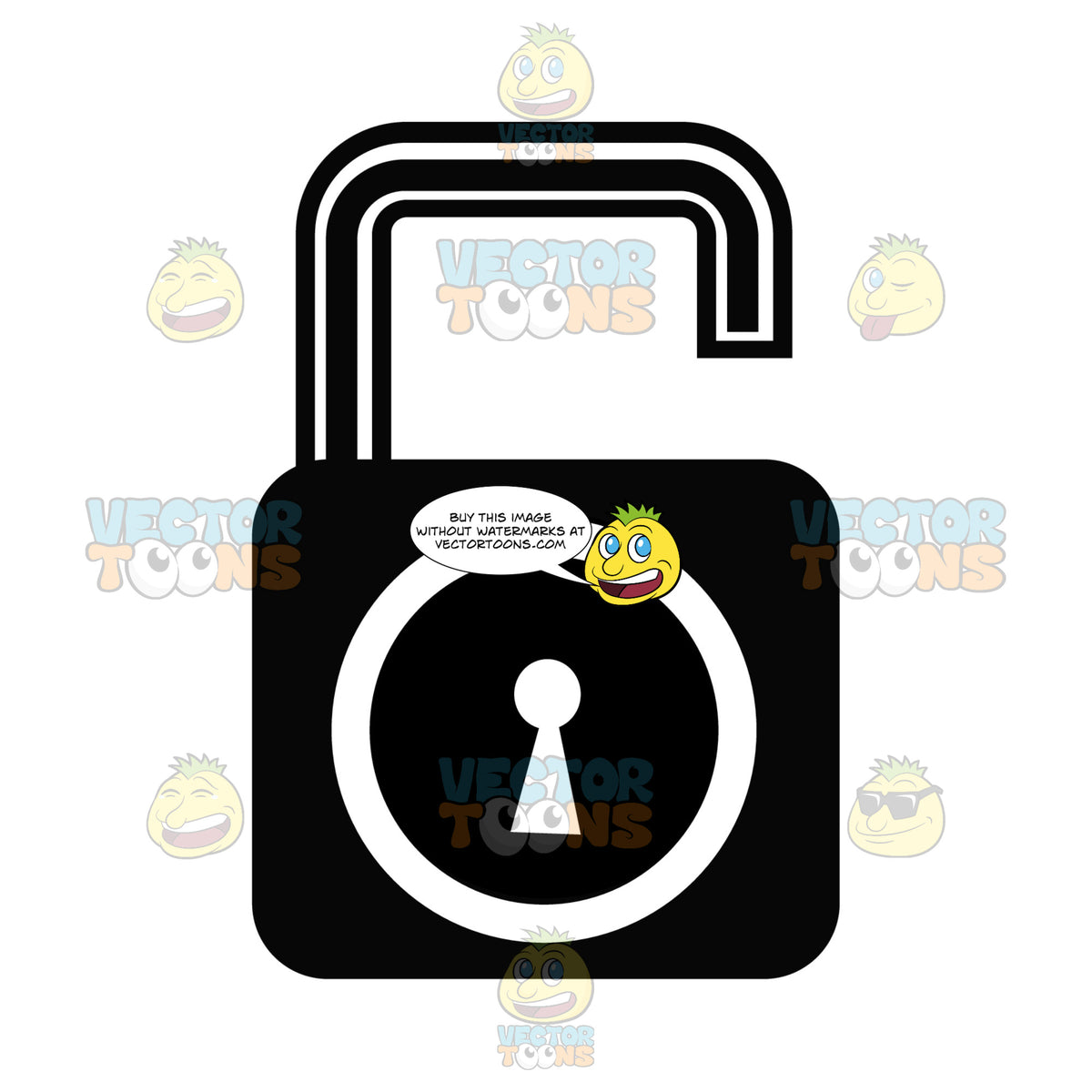 Unlocked Security Key And Lock Black And White Computer