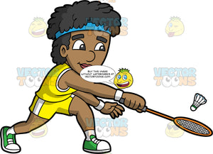 A Happy Black Man Playing Badminton. A black man wearing yellow with white shorts, a yellow tank top, green sneakers and a blue head band, lunges forward and hits a shuttlecock with the badminton racquet in his hand