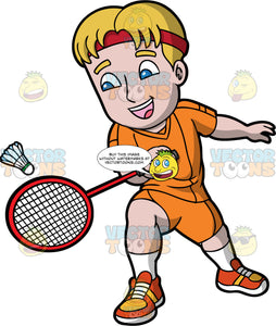 A Man Having Fun Playing Badminton. A man with dark blonde hair and blue eyes, wearing orange shorts, an orange shirt, and orange and yellow shoes, hitting a shuttlecock with the badminton racquet in his hand