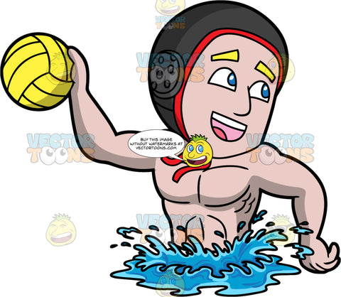 A Man Having Fun Playing Water Polo. A man wearing a black with red water polo cap, treads water and looks towards a team mate as he gets ready to throw the yellow water polo ball in his hand