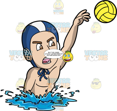 A Man Aggressively Throwing A Water Polo Ball. A man wearing a blue and white water polo cap, treads water and aggressively throws a yellow water polo ball