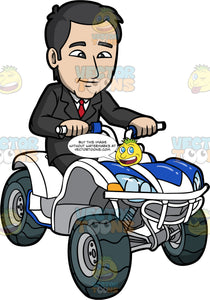 A Conservative Man In A Suit Driving A Quad Bike. A man wearing a dark grey suit with red tie, sits on a white with blue quad bike and takes it out for a test drive