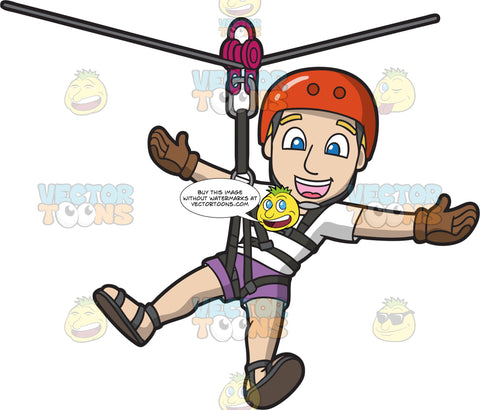 A Friendly Happy Guy Ziplining