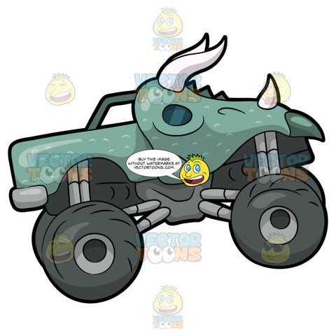 A Rhino Shaped Monster Truck. A monster truck with four huge dark gray tires, with a body that is sculpted like a rhinoceros with a mint green paint and white horns