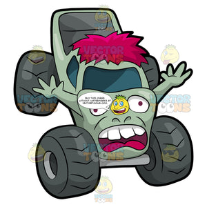 A Zombie Shaped Monster Truck. A monster truck with four huge dark gray tires, with a body that is sculpted like a pink zombie with arms, light green paint, scary face, and shocking pink hair