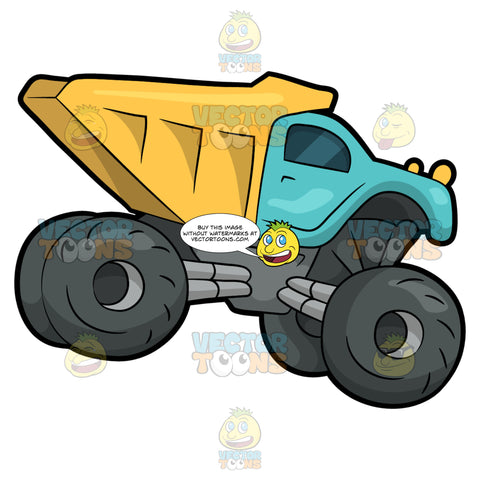 A Dump Truck Monster Vehicle. A monster dump truck with four huge dark gray tires, with a teal and yellow body paint